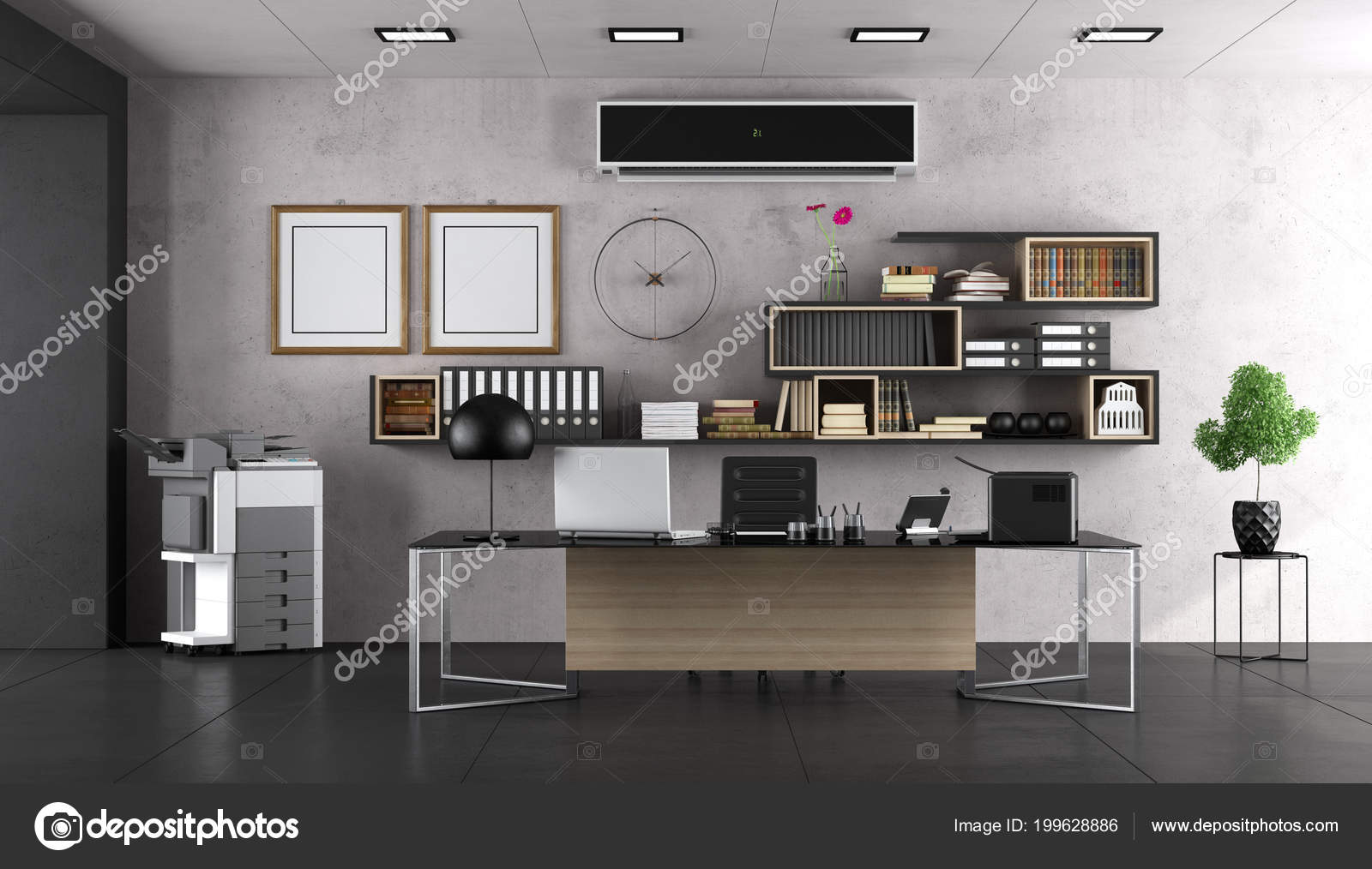 moderne kantoor met groot bureau boekenkast rendering stockfoto