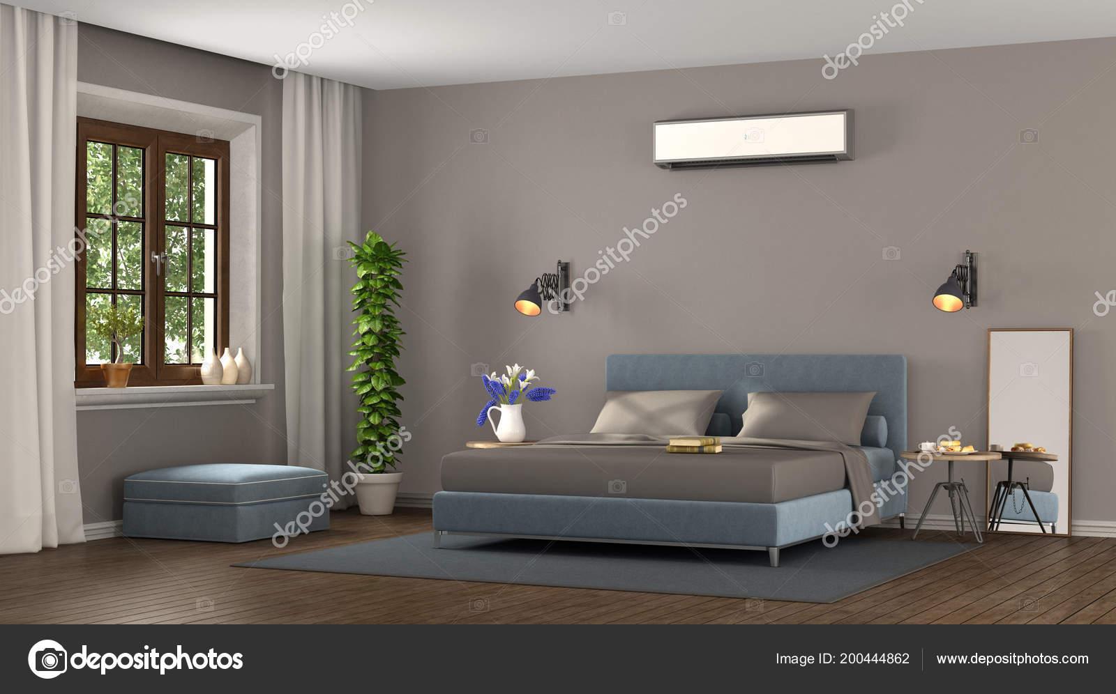 Blue Brown Modern Master Bedroom Air Conditioner Rendering ...