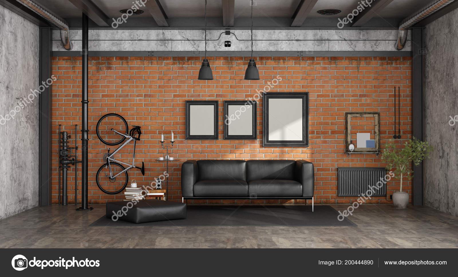 Woonkamer Zwarte Bank : Woonkamer een loft met zwarte bank tegen een bakstenen muur