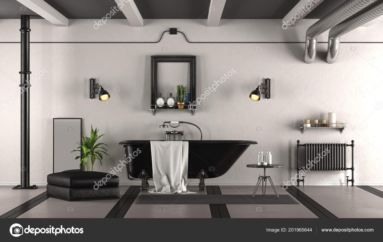 Schwarz Weiß Retro Bad Mit Klassischen Badewanne Rendering