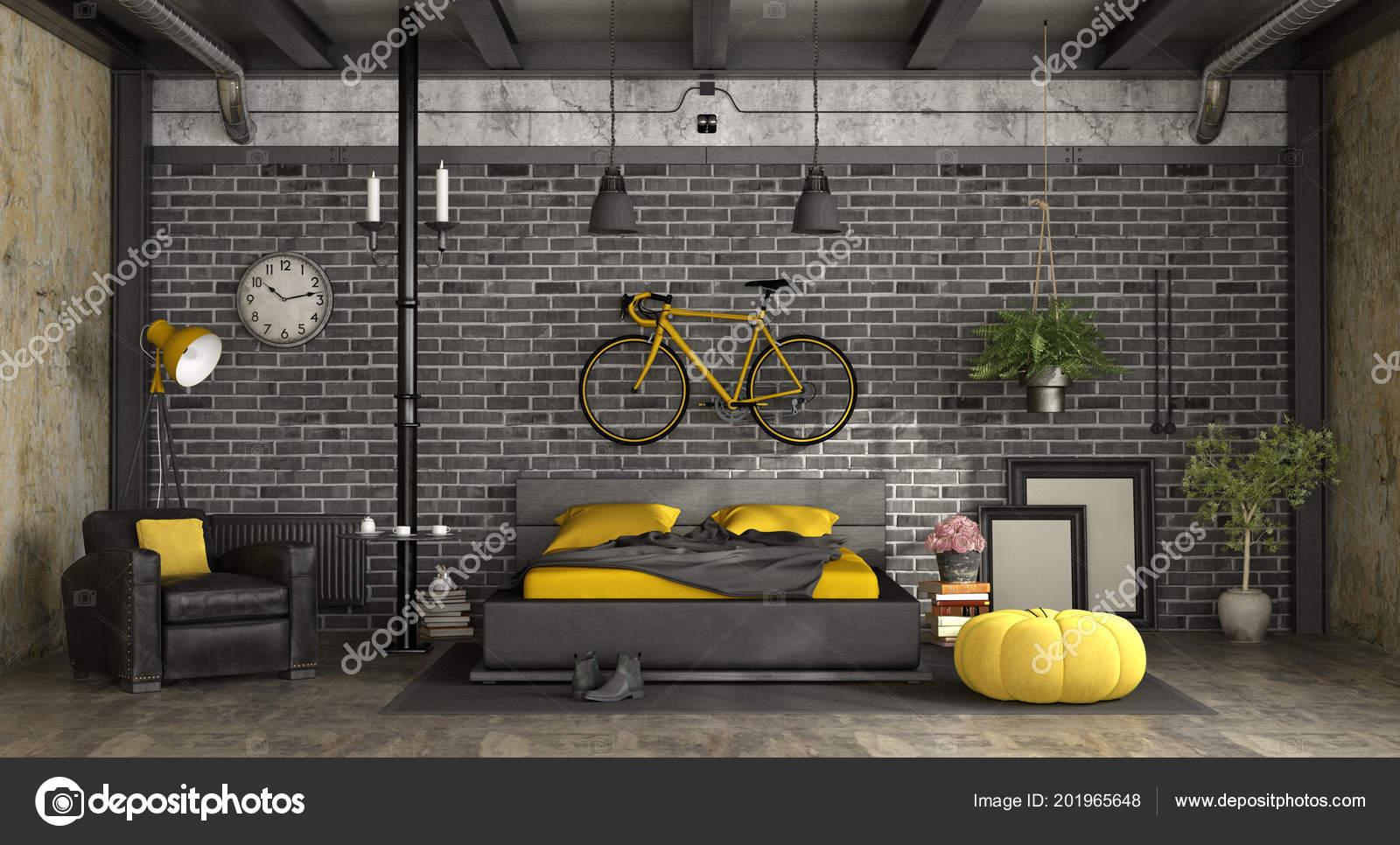 Letto Matrimoniale Giallo : Camera letto master nero giallo loft con letto matrimoniale contro