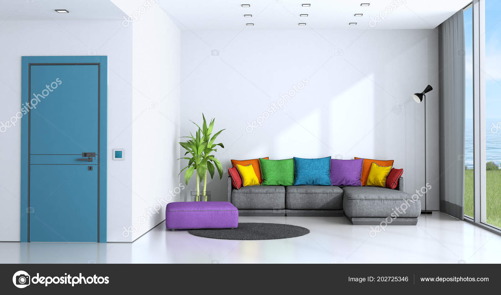 Bright Living Room White Walls Colorful Sofa Rendering