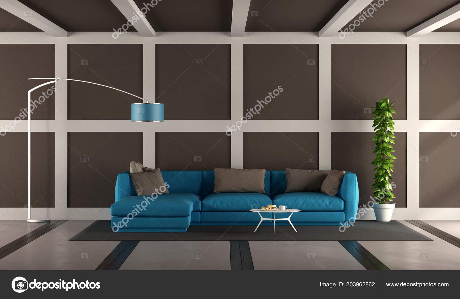 Blue Brown Modern Living Room Elegant Sofa Floor Lamp Rendering