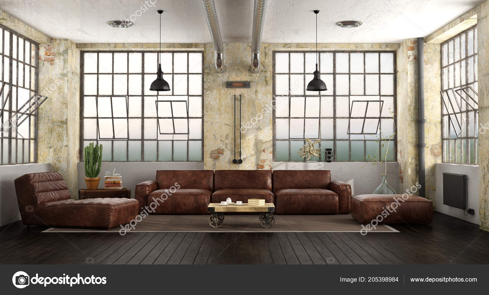 Living Room Loft Leather Sofa Chaise Lounge Large Windows ...
