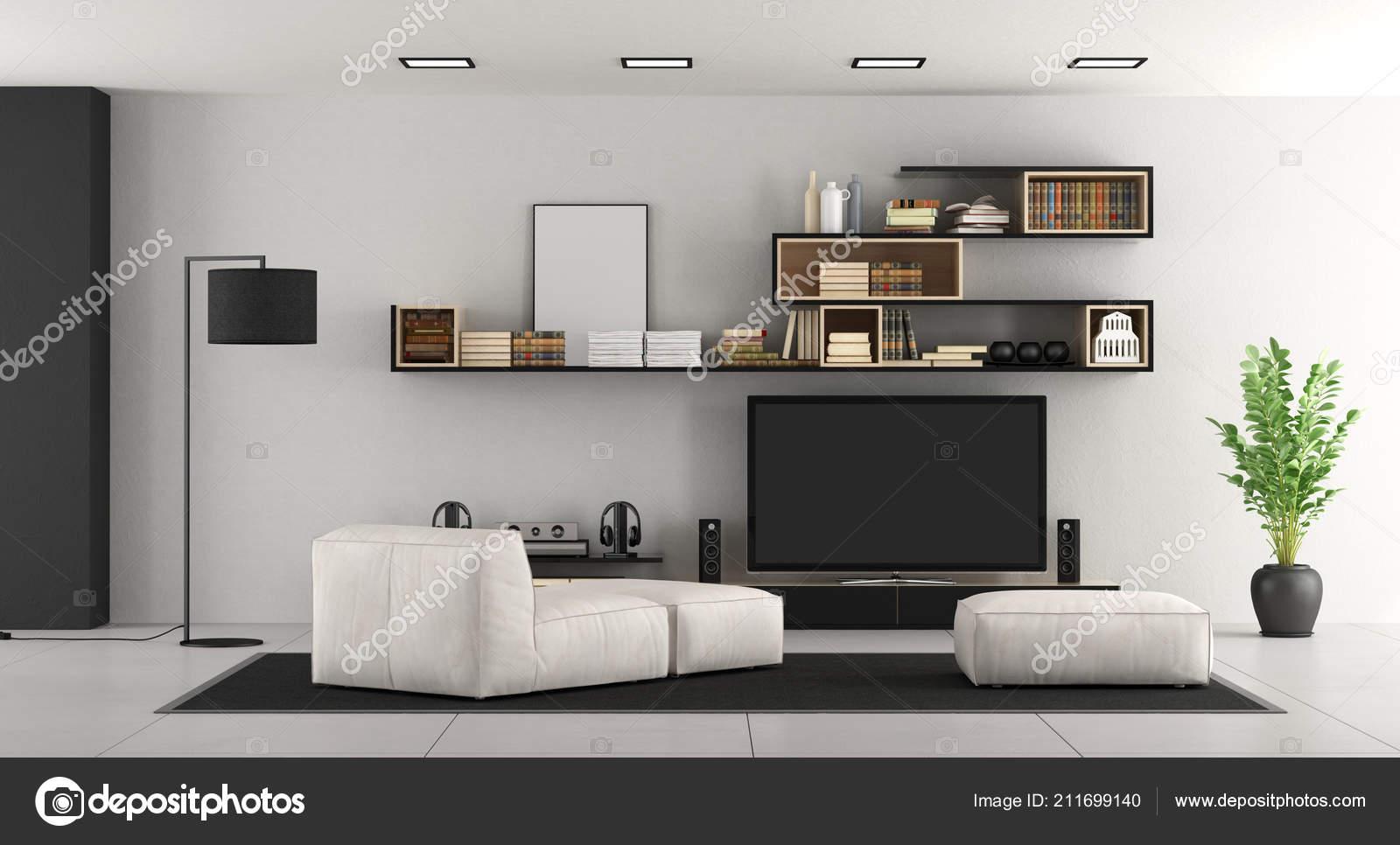 Woonkamer Met Boekenkast : Wit woonkamer met boekenkast chaise lounge footsttol set rendering