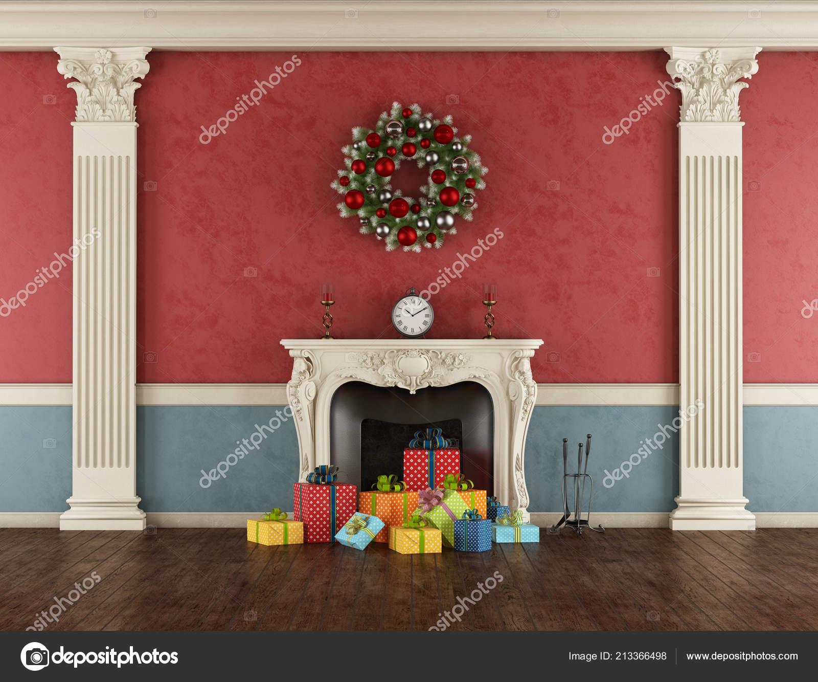 Empty Retro Living Room Colorful Christmas Present Classic
