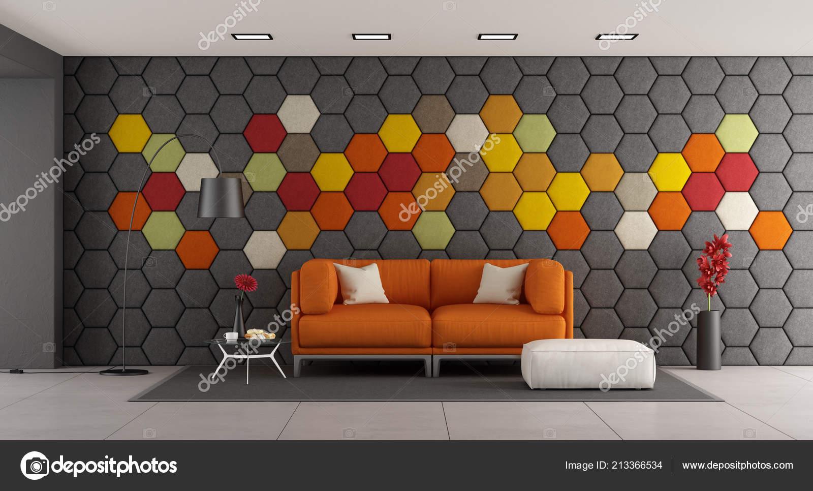 Kleurrijke Witte Woonkamer : Moderne woonkamer met witte bank kleurrijke zeshoekige panelen van