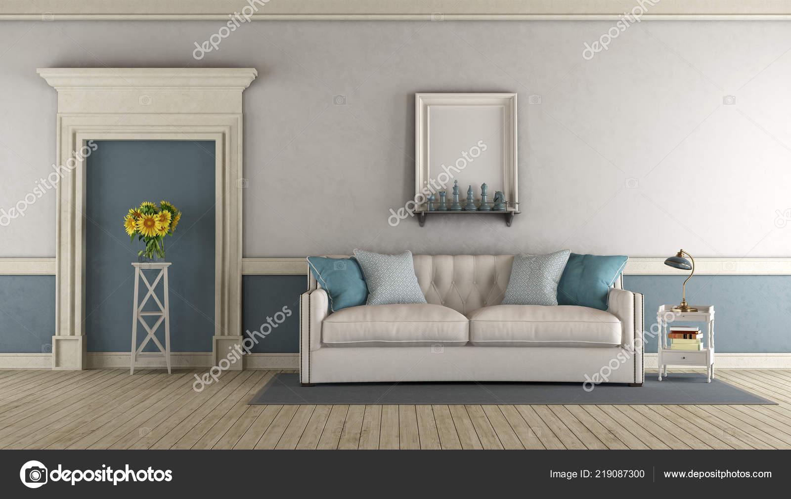 Enjoyable White Blue Classic Living Room Fabric Sofa Stone Portal Gamerscity Chair Design For Home Gamerscityorg