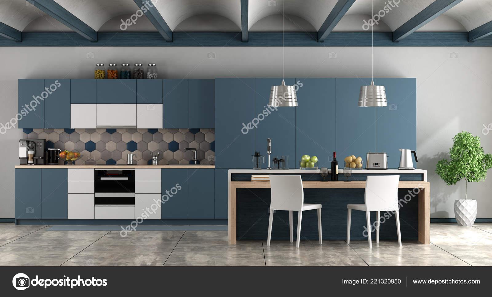Bianco Blu Cucina Contemporanea Con Rendering Pavimento ...