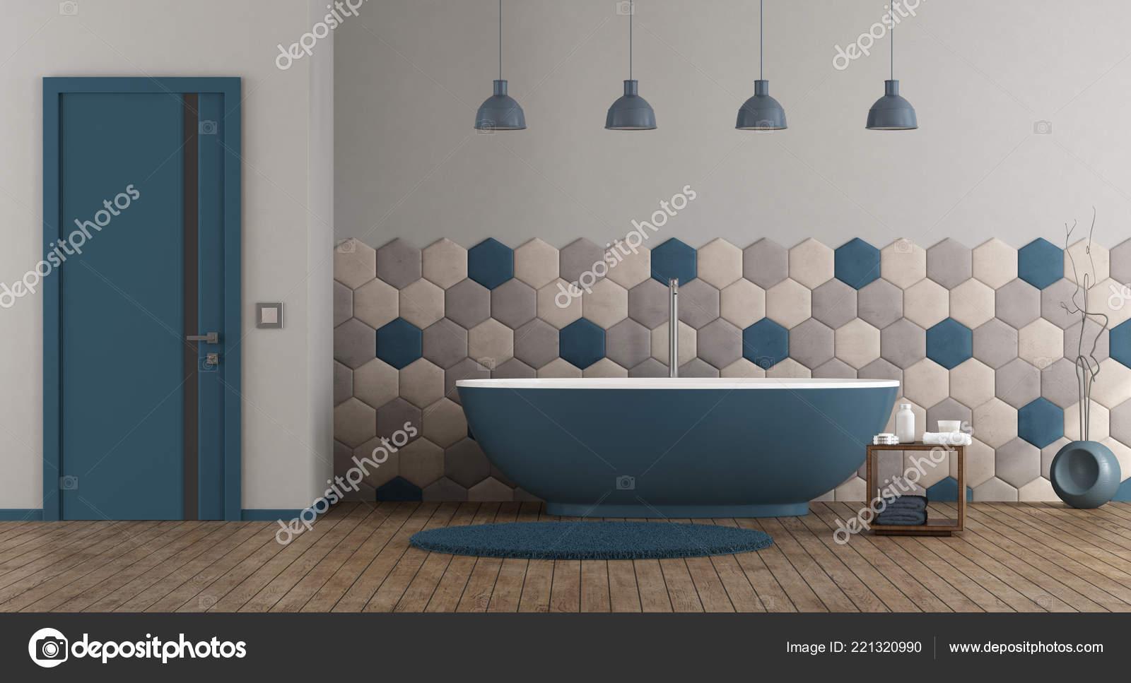 Bleu Gris Moderne Salle Bain Avec Baignoire Rendu Porte ...