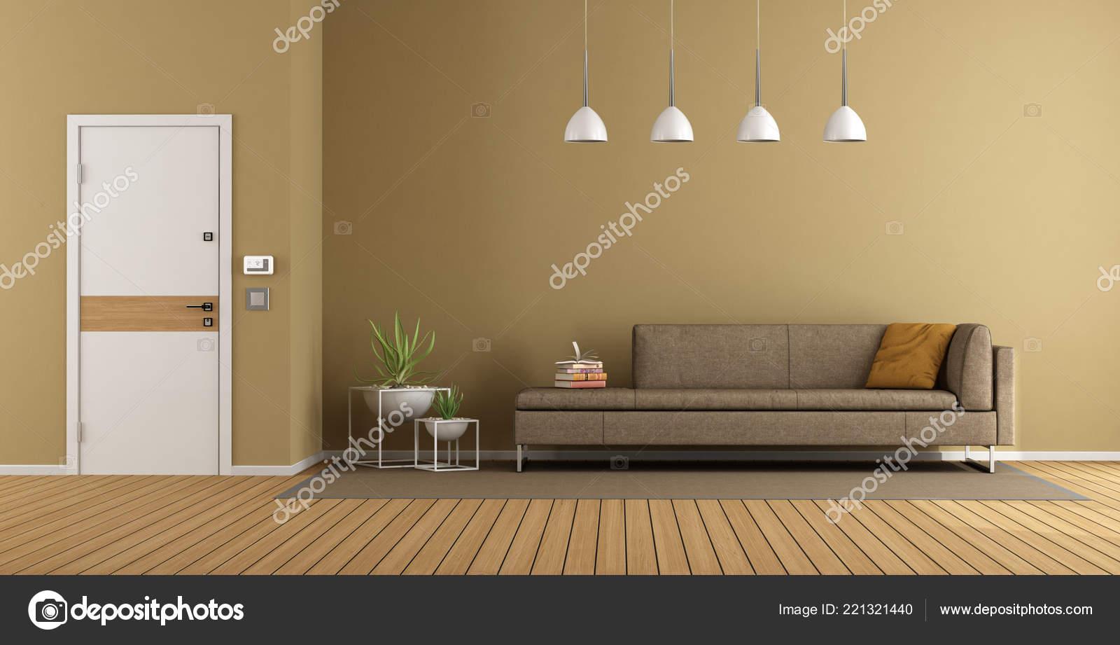 Superb Modern Home Entrance Brown Sofa Closed Front Door Rendering Cjindustries Chair Design For Home Cjindustriesco