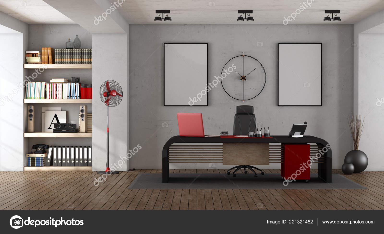 moderne kantoor met zwarte bureau boekenkast rendering stockfoto