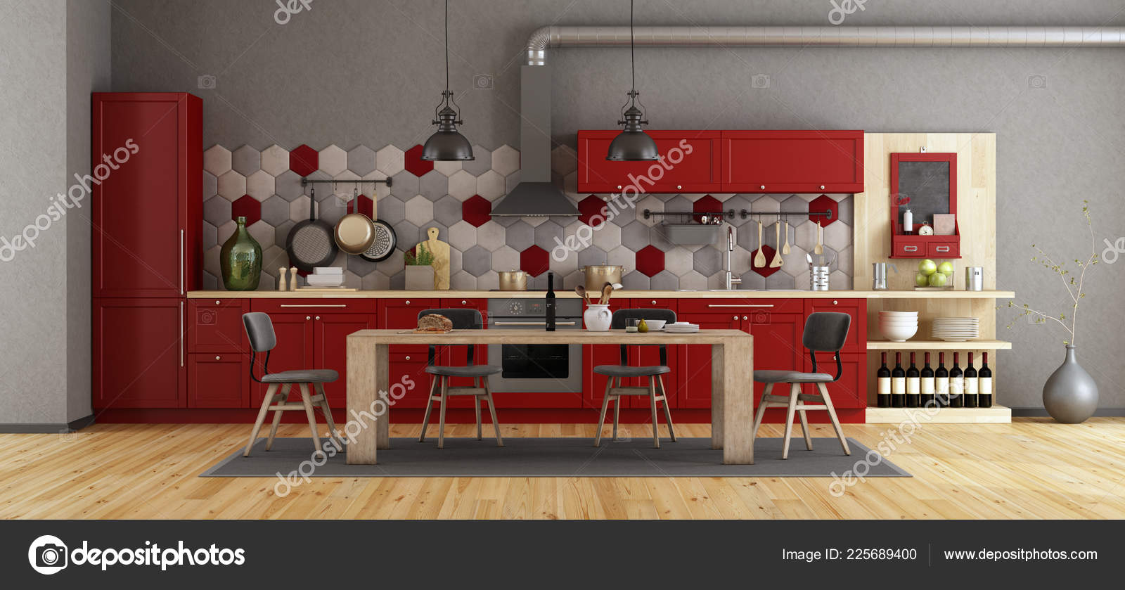 Retro Red Kitchen Wooden Dining Table Chairs Rendering Stock Photo