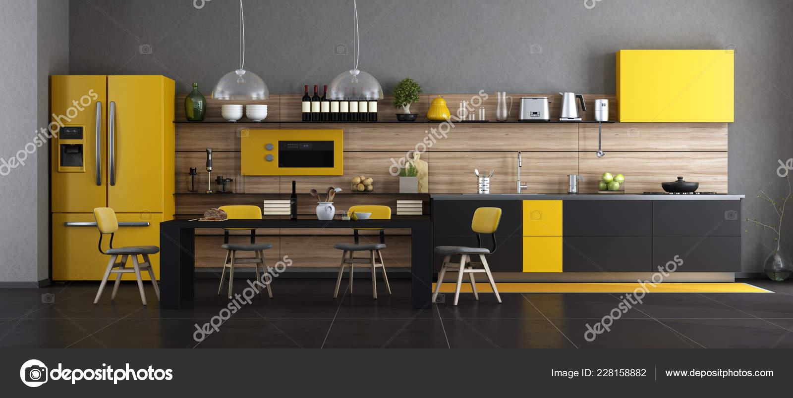 Cuisine Moderne Noire Jaune Avec Table Chaises Rendu