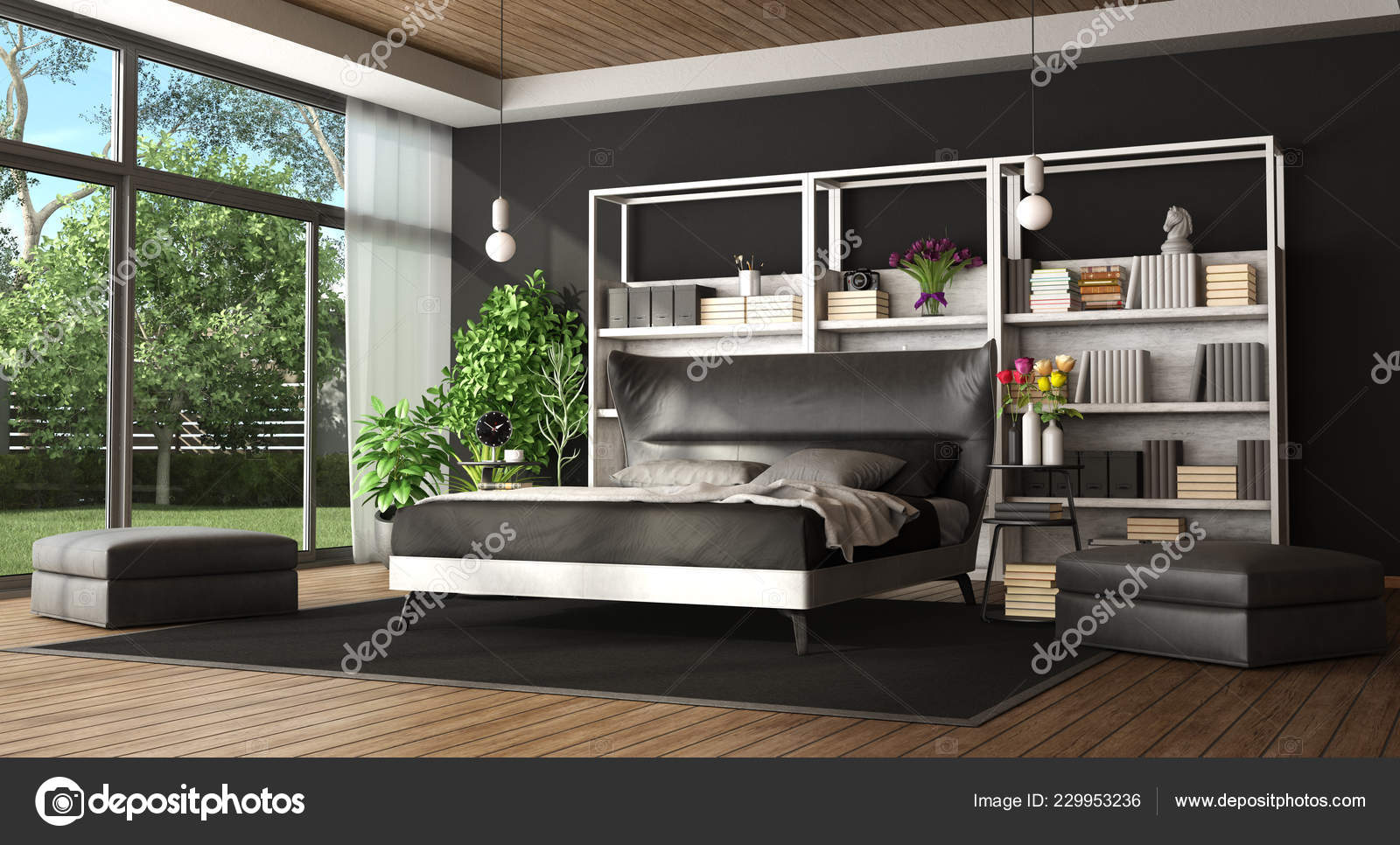 Master Bedroom Modern Villa Black White Bed Bookcase Stock Photo C Archideaphoto 229953236