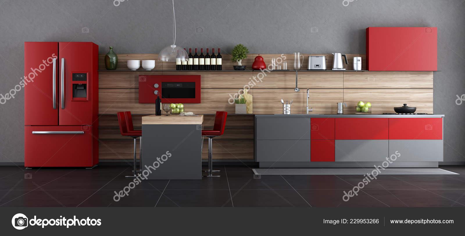 Rosso grigio cucina moderna con isola sgabello bar rendering u2014 foto