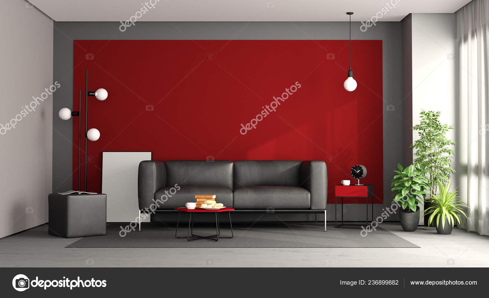 Wohnzimmer Mit Schwarzen Sofa Gegen Rote Wand Rendering — Stockfoto ...