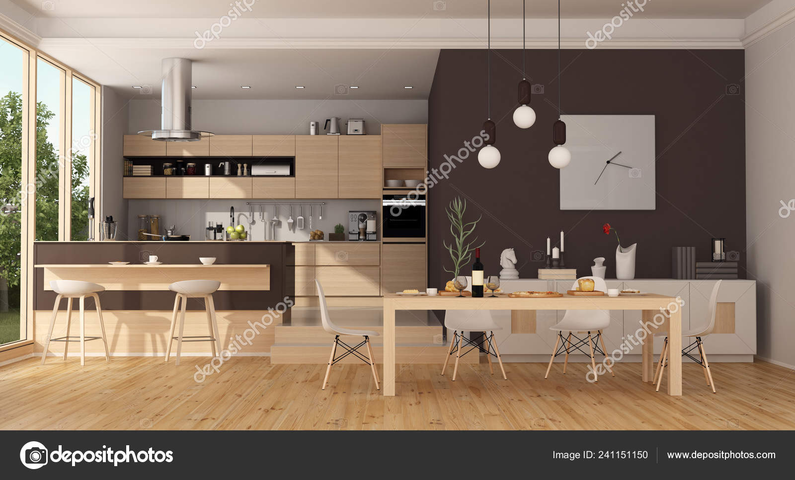 Modern Wooden Kitchen Island Dining Table Rendering Stock Photo Image By C Archideaphoto 241151150