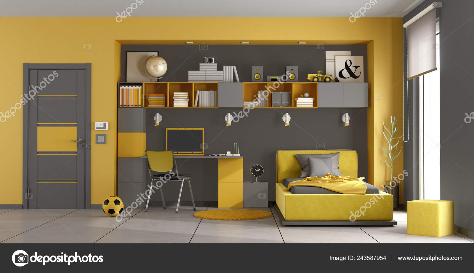 Gray Yellow Kids Room Single Bed Bookcase Desk Rendering