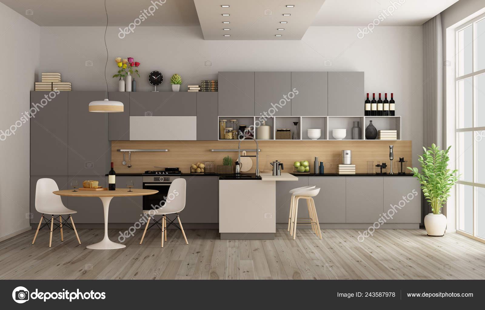 Cocina Con Mesa Comedor Isla Redonda Rendering — Fotos de ...