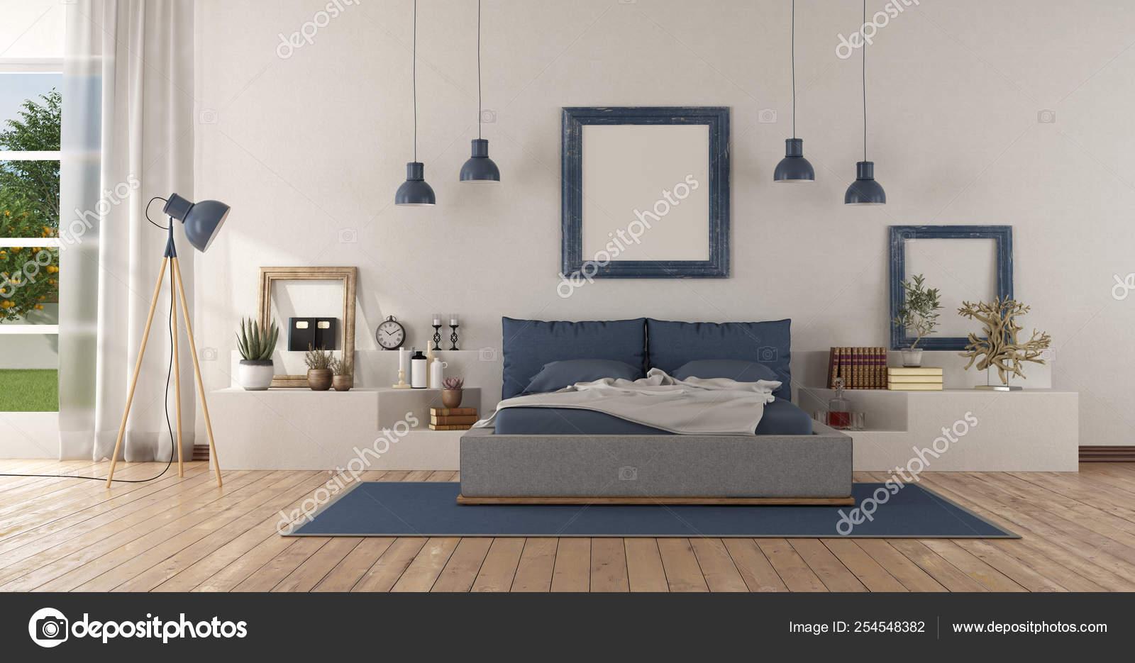 Camera matrimoniale moderna bianca e blu — Foto Stock ...