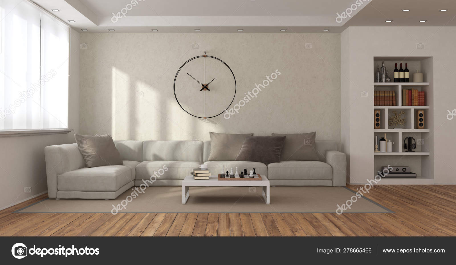 Soggiorno moderno con divano e libreria — Foto Stock ...