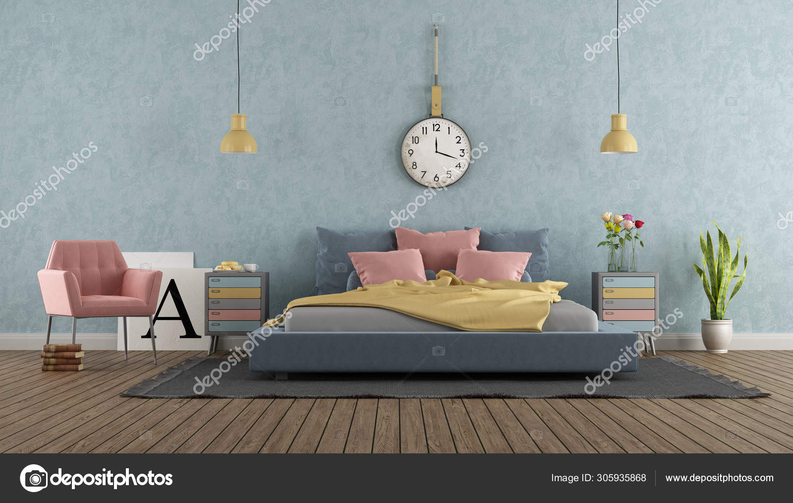 Master bedroom in pastel colors with vintage furniture ...