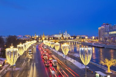 Russia. Moscow. View of the Bolshoy Kamenny Bridge and the Kremlin