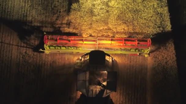 Mietitrebbiatrice durante la vendemmia, lavorando di notte su un campo di colza