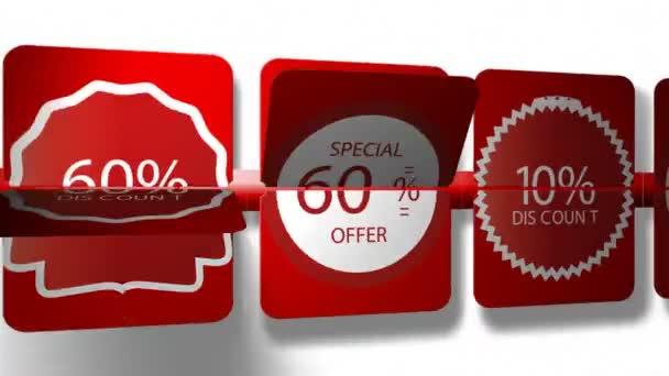 Prodej HD reklamní animace video s nápisem 10 procent slevu. Velký výprodej, horké prodej, Nejlepší cena, minimální cena a slevy.
