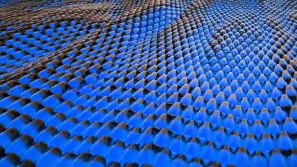 Animace, abstraktní vlna modré metalické kapaliny s odrazy. Loopable animace.