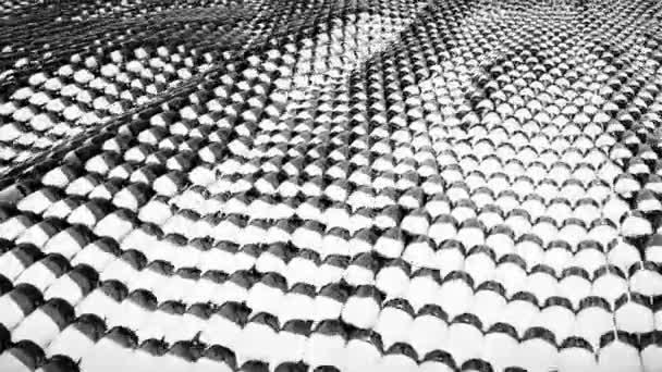 Animace, abstraktní wave černo bílé kovové kapaliny s odrazy. Loopable animace