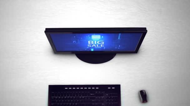 Počítačový monitor s nápisem velký prodej. Velký výprodej, horké prodej, Nejlepší cena, minimální cena a slevy