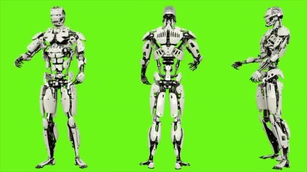 Robot android je opilý nečinné. Realistického pohybu smyčce na pozadí zelené obrazovky. 4k.