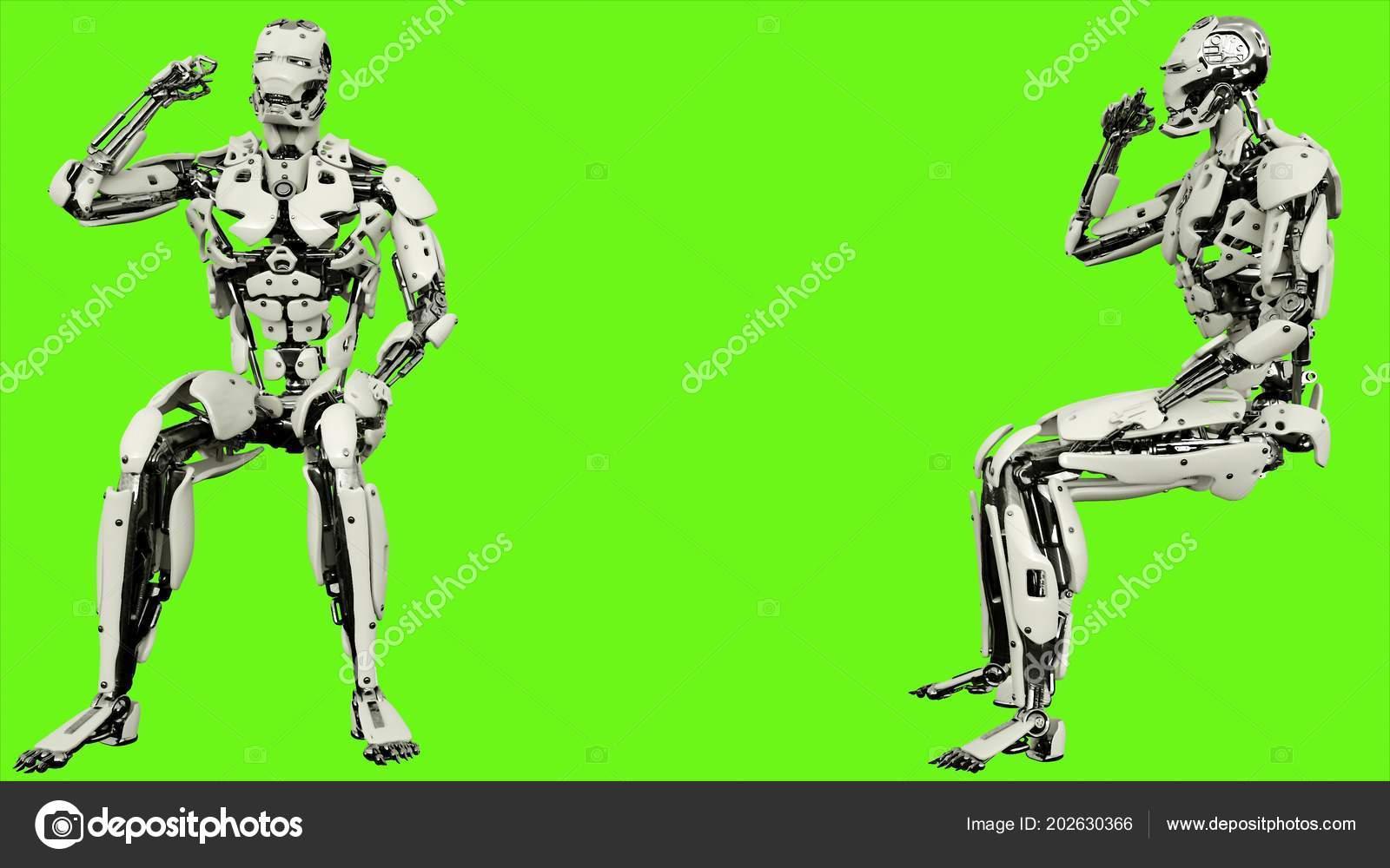 Robot Android Est émotionnellement Réagit Et Vagues Poing