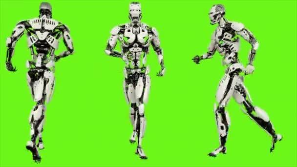 Robot android běží. Realistického pohybu smyčce na pozadí zelené obrazovky. 4k.