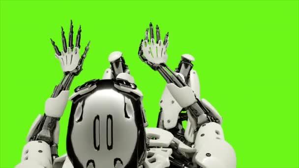 Robot android, hra na klavír. Realistického pohybu smyčce na pozadí zelené obrazovky. 4k.
