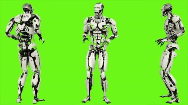 Robot android strach. Realistického pohybu smyčce na pozadí zelené obrazovky. 4k.