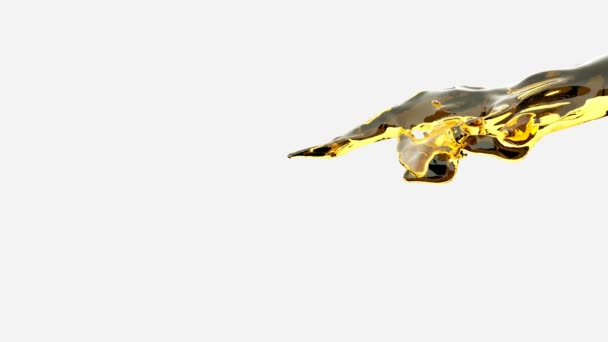 Water splash, yellow liquid slow motion