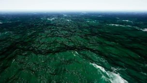 Flying over calm ocean blue sky. Animation of seamless loop. 4k
