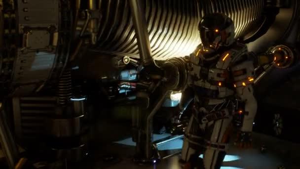 Astronaut der Zukunft geht den Korridor seines Raumschiffes