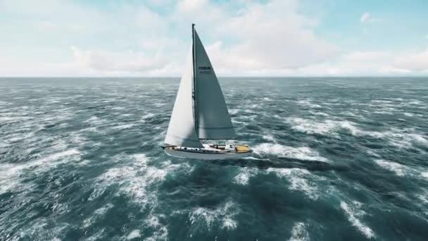 Yacht, vitorlázás megnyílt óceán. Vitorlázás, vitorlás videóinak. A fenti jacht.