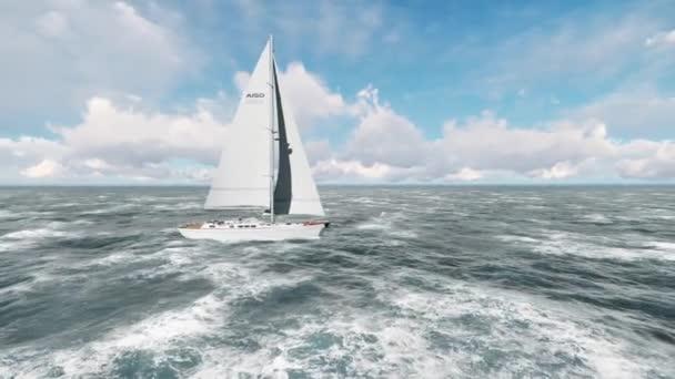 Jachta plující na otevřeném oceánu. Jachting, plachtění video. Pronájem jachet z výše.