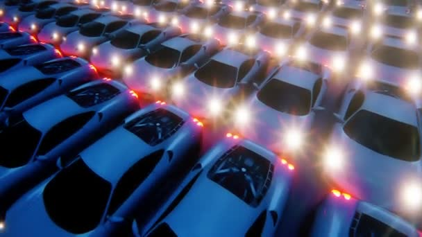 The camera flies over the rows of white sports cars in moon night. Realistic of seamless loop animation.