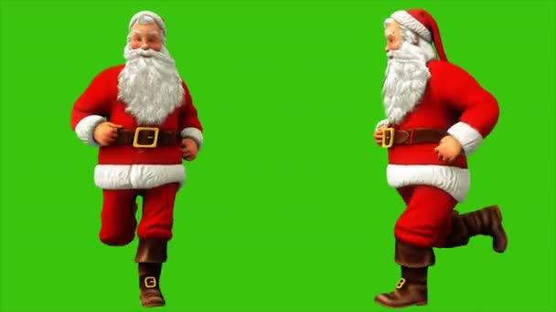 Santa claus fut zöld képernyő 4k karácsonykor. Varrat nélküli hurok élénkség.