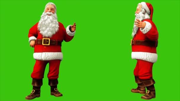 Veselý Santa Claus říká něco na zelené obrazovce během Vánoc 4k. Bezešvá smyčka animace.