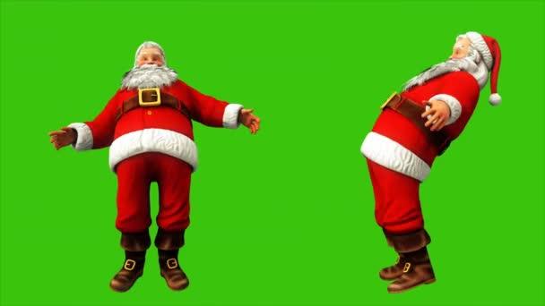 Vidám Santa Claus próbál valamit, és 4k karácsonykor a zöld képernyőn lengő. Varrat nélküli hurok élénkség.