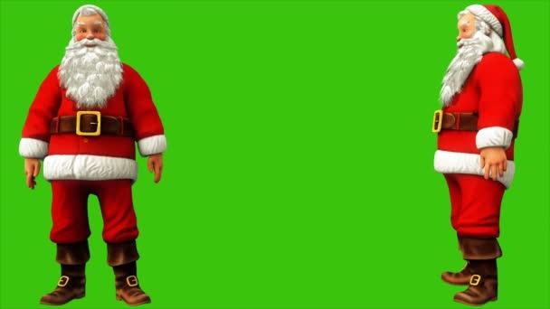 Jolly Mikulás sóhajt, és vállat von, a zöld képernyő 4k alatt a karácsony. Varrat nélküli hurok élénkség.