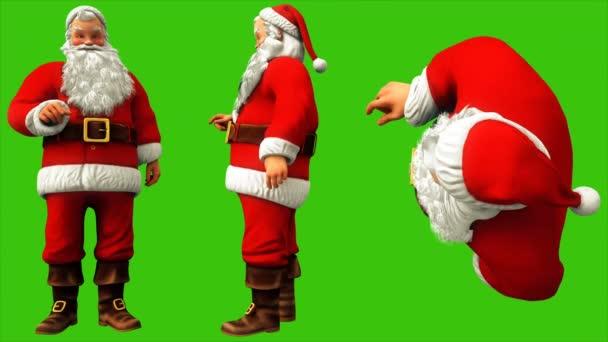 Santa Claus megnyomja a gombot, a zöld képernyő 4k karácsonykor. Varrat nélküli hurok élénkség.
