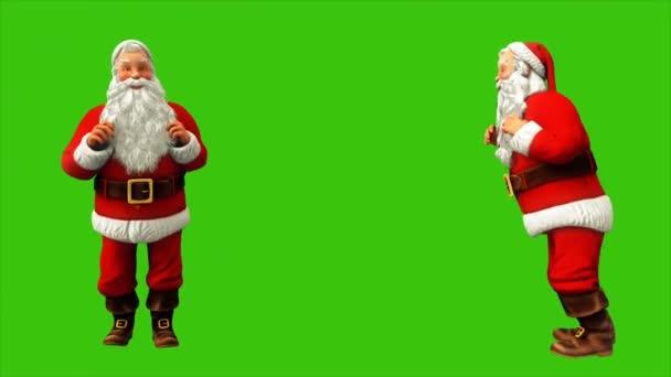 Santa Claus je skákání na zelené obrazovce během 4k Vánoce. Bezešvá smyčka animace.